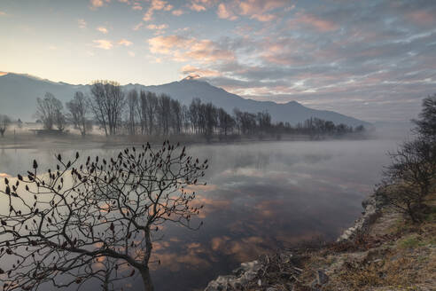 Clouds reflected in River Mera at dawn, Sorico, Como province, Lower Valtellina, Lombardy, Italy, Europe - RHPLF02242