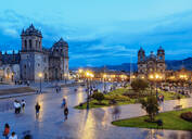 Main Square at twilight, Old Town, UNESCO World Heritage Site, Cusco, Peru, South America - RHPLF02494