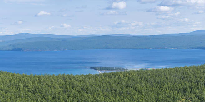 Taiga and Hovsgol Lake seen from above, Hovsgol province, Mongolia, Central Asia, Asia - RHPLF02770