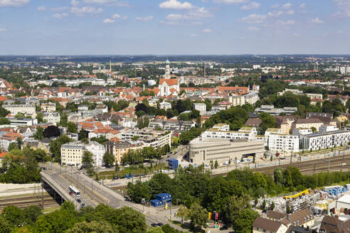 Aerial view of Augsburg cityscape against sky during sunny day, Germany - FCF01801