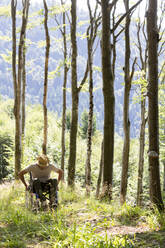 Man in wheelchair in the forest - DRF01748