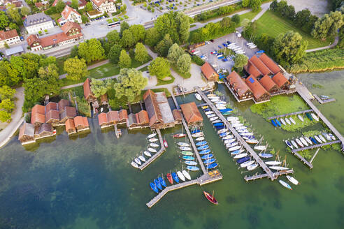 Aerial view of harbor and railroad station at Upper Bavaria, Germany - SIEF08895
