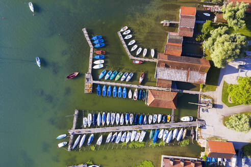 Aerial view of harbor at Ammersee lake in Upper Bavaria, Germany - SIEF08898