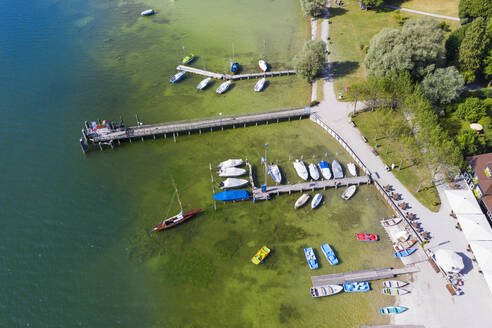 Aerial view of jetty at Utting, Bavaria, Germany - SIEF08904