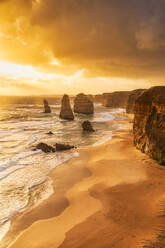 Stack rocks against cloudy sky at Twelve Apostles Marine National Park, Victoria, Australia - SMAF01310