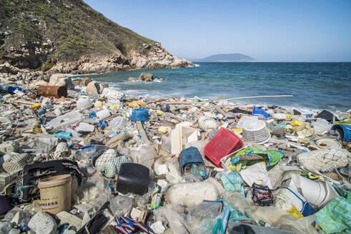Beach covered in plastic rubbish, Lap Sap Wan, New Territories, Hong Kong, China, Asia - RHPLF03590