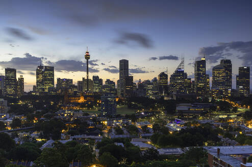 View of skyline at sunset, Sydney, New South Wales, Australia, Pacific - RHPLF03841