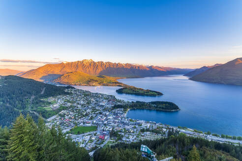 View of town from mountain against sky at Queenstown, South Island, New Zealand - SMAF01365