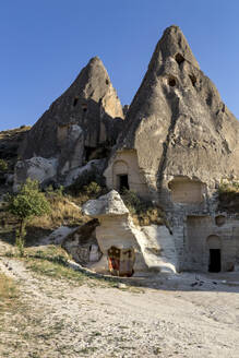 Mountains against clear blue sky at Goreme Open Air Museum, Cappadocia, Turkey - KNT03128