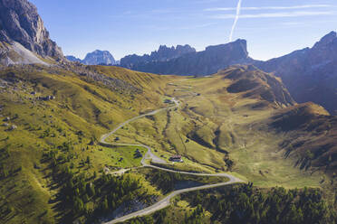 Aerial view of Giau pass and mountains, Belluno, Italy - WPEF01821