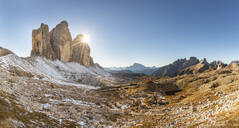Panoramic view of Tre Cime di Lavaredo against clear sky during winter, Italy - WPEF01824