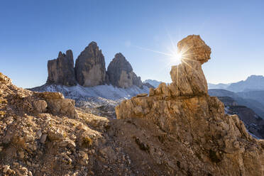 Scenic view of Tre Cime di Lavaredo against clear sky during sunny day, Italy - WPEF01827