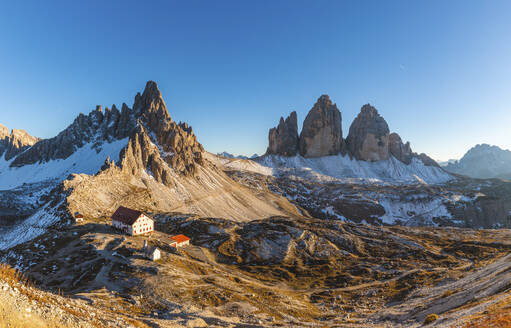 Scenic view of Tre Cime di Lavaredo and Mount Paterno against clear blue sky, Italy - WPEF01830