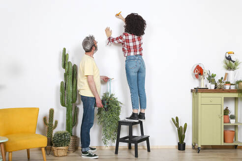 Couple hanging plant on the wall at home - RTBF01344