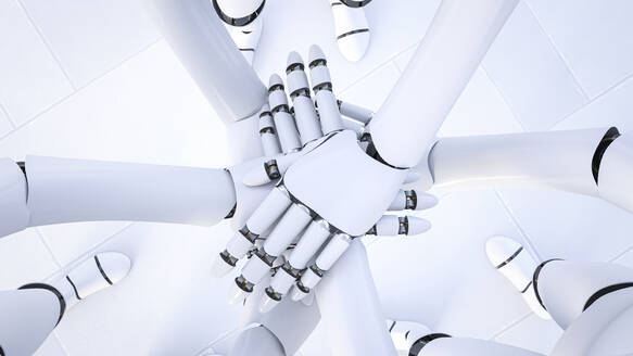 Rendering of three robots stacking hands, close-up - AHUF00581