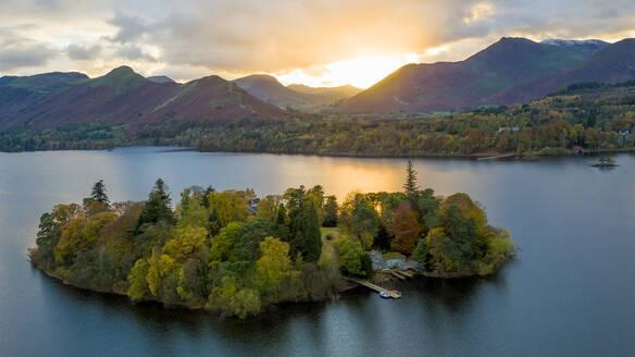 Derwent Water, Lake District National Park, UNESCO World Heritage Site, Cumbria, England, United Kingdom, Europe (Drone) - RHPLF04633