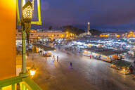 View of Jemaa el Fna (Djemaa el Fnaa) Square, UNESCO World Heritage Site and Koutoubia Mosque at night, Marrakesh (Marrakech), Morocco, North Africa, Africa - RHPLF04783