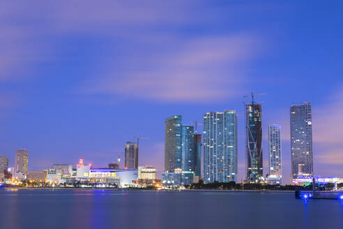 Night skyline of Downtown Miami from Watson Island, Miami, Florida, United States of America, North America - RHPLF04999