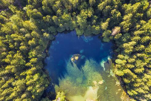 Aerial view of Badersee lake at Grainau, Werdenfelser Land, Upper Bavaria, Bavaria, Germany - SIEF08957