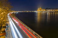 Trail lights along River Danube and Hungarian Parliament Building at night, Budapest, Hungary, Europe - RHPLF05263