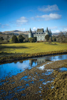View of Inveraray Castle and River Aray, Argyll and Bute, Scotland, United Kingdom, Europe - RHPLF05278