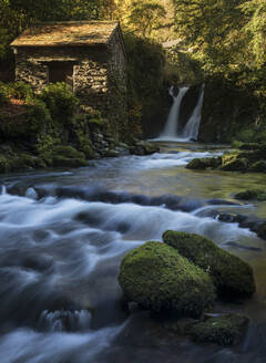 Rydal Falls and The Grot, the Summerhouse designed for viewing the waterfall, Rydal Hall, Ambleside, Lake District National Park, UNESCO World Heritage Site, Cumbria, England, United Kingdom, Europe - RHPLF05845