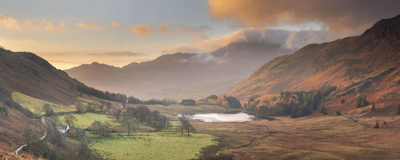 Panoramic Image of view to Blea Tarn in autumn from Side Pike, Langdale Pikes, Lake District National Park, UNESCO World Heritage Site, Cumbria, England, United Kingdom, Europe - RHPLF05851