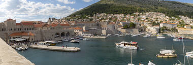 View of boats in harbour of Dubrovnik Old Town from the wall, UNESCO World Heritage Site, Dubrovnik, Dalmatia, Croatia, Europe - RHPLF06064