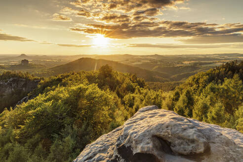 View over Carolafelsen Rocks to Schrammstein Mountains at sunset, Saxony Switzerland National Park, Saxony, Germany, Europe - RHPLF06076