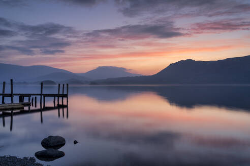 Brandlehow Jetty at dawn, Derwent Water, Lake District National Park, UNESCO World Heritage Site, Cumbria, England, United Kingdom, Europe - RHPLF06304