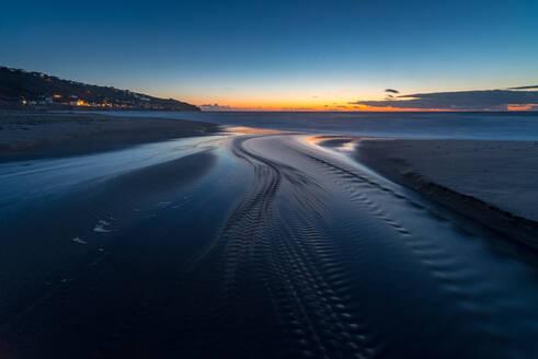 Water trails at sunset, Sennen Beach, Sennen, Cornwall, England, United Kingdom, Europe - RHPLF06556