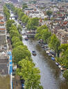 An aerial view of Prinsengracht Canal, Amsterdam, North Holland, The Netherlands, Europe - RHPLF06882