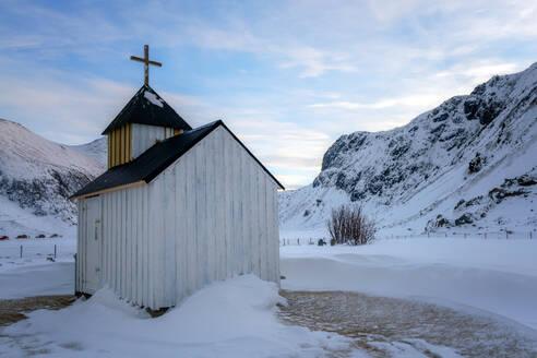 The Little White Church, Unstad Beach, Lofoten Islands, Nordland, Norway, Europe - RHPLF07314