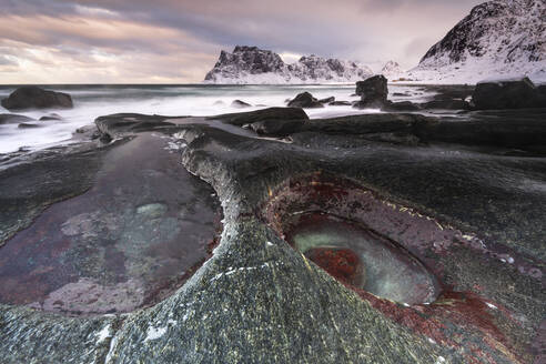 Rock formation at Uttakleiv Beach, Vestvagoy, Lofoten Islands, Nordland, Arctic, Norway, Europe - RHPLF07398