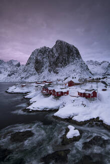 The Village of Hamnoy in a winter, Reine, Lilandstindan, Moskenesoya, Lofoten, Nordland, Arctic, Norway, Europe - RHPLF07401