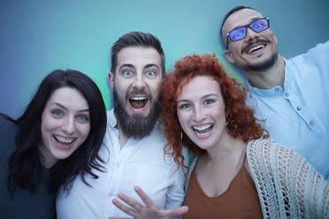 Portrait of happy excited friends - ZEDF02574