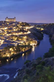 View over Tajo River at Alcazar, UNESCO World Heritage Site, Toledo, Castilla-La Mancha, Spain, Europe - RHPLF07453
