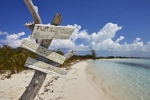 The shore of Little Water Cay, a nature reserve island off the northern tip of Providenciales, Turks and Caicos, in the Caribbean, West Indies, Central America - RHPLF07522