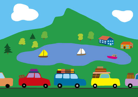 Child's drawing of cars in a traffic jam on the way to holidays - WWF05208