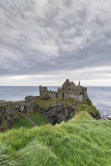 Dunluce Castle ruins, Bushmills, County Antrim, Ulster, Northern Ireland, United Kingdom, Europe - RHPLF07712