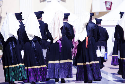 Men and women in traditional costume during the Saint Antioco procession, Sant'Antioco, Sardinia, Italy, Europe - RHPLF07736