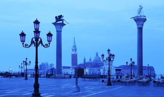 Doge's Palace and Piazzetta against San Giorgio Maggiore in early morning light, Venice, UNESCO World Heritage Site, Veneto, Italy, Europe - RHPLF08204
