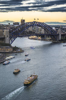 View over Sydney harbour after sunset, Sydney, New South Wales, Australia, Pacific - RHPLF08252