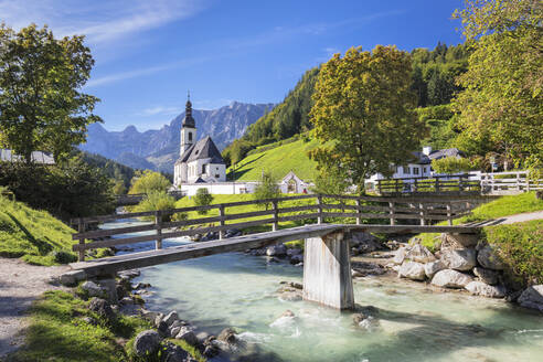 Church by Ramsauer Ache river in Bavaria, Germany, Europe - RHPLF08288
