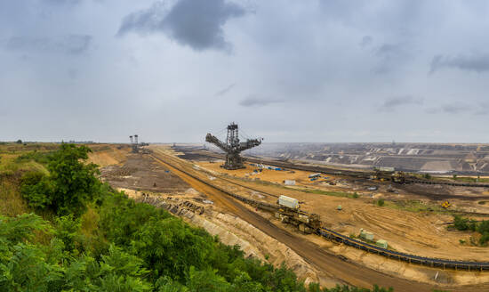 Panoramic view over brown coal opencast mine Garzweiler, Germany - FRF00868