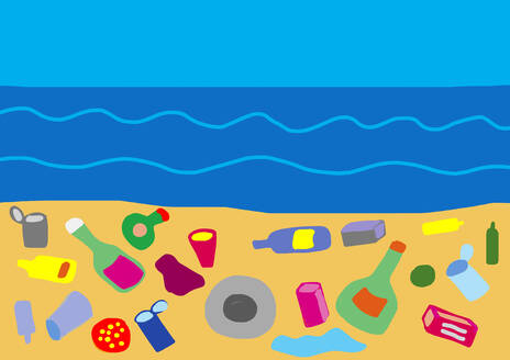 Child's drawing of garbage on the beach - WWF05230