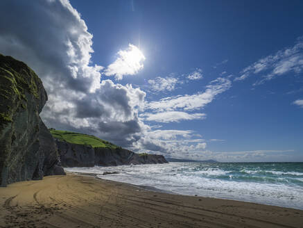 Scenic view of sea against blue sky, Basque Coast Geopark, Spain - LAF02365