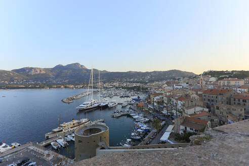Port of Calvi against clear sky during sunset, Corsica, France - ZCF00794
