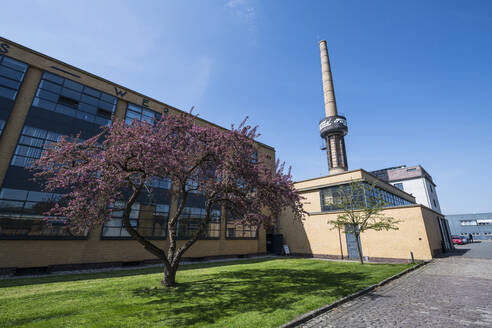 Low angle view of Fagus Factory against clear blue sky in city, Alfeld, Lower Saxony, Germany - RUN02896
