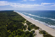Aerial view of sea against blue sky during sunny day, Curonian Spit, Russia - RUNF02908